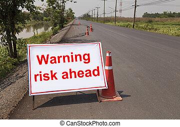 avertissement, risque, devant