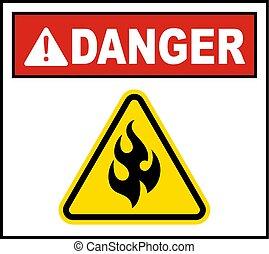 avertissement, signe inflammable