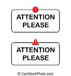 avertissement, s'il vous plaît, rouges, signe, cadre, texte, notification, icône, message, set., isolé, vector., attention, prudence