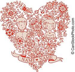 Aves, corazón, flores, boda