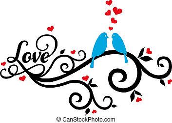 aves de amor, con, rojo, corazones, vector