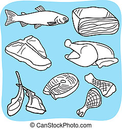 aves domésticas, carne, peixe, ilustração