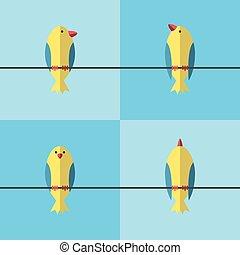aves, en, alambre, conjunto