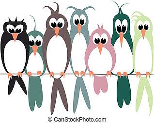 aves, en, alambre, fondo blanco