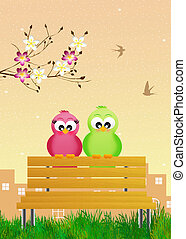 aves, en, primavera