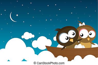 aves, en un bote
