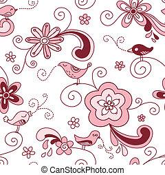 aves, floral, seamless, patrón