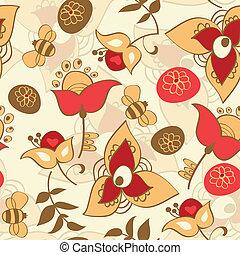 Aves, lindo,  seamless, patrón,  seamless, flores
