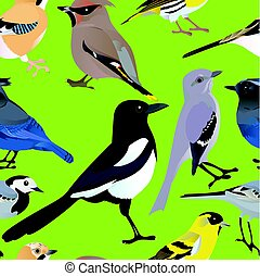 aves, seamless, patrón