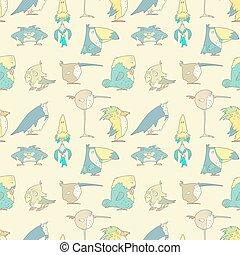 aves, seamless, pauta fondo, para, diseño, y, álbum de recortes, en, vector
