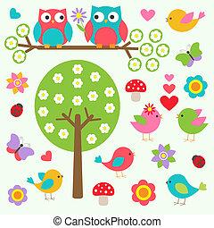 aves, y, búhos, en, primavera, bosque