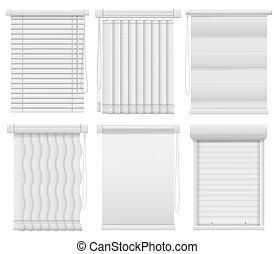 aveugle, éléments, bureau, vertical, horizontal, jalousie., fenêtre, vecteur, fermé, mockups, intérieur, assombrissement, ouvert, blinds., rideaux, salle