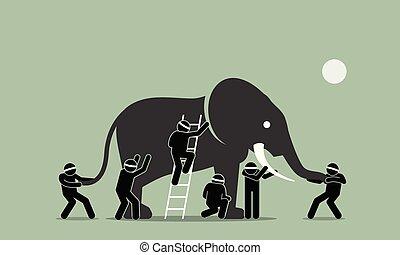 aveugle, elephant., toucher, hommes