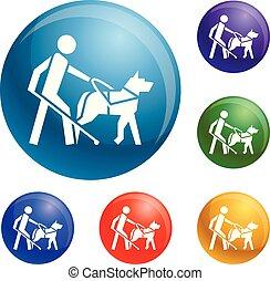 aveugle, garçon, ensemble, icônes, chien, vecteur, guide