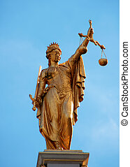 aveugle, &, justice, plié, équilibre, dame