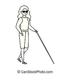 aveugle, marche, femme, crosse