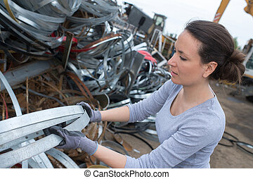 avfall, arbetare, kvinnlig, metaller