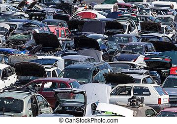 avfall, gammal, hundreds, gård, bilar