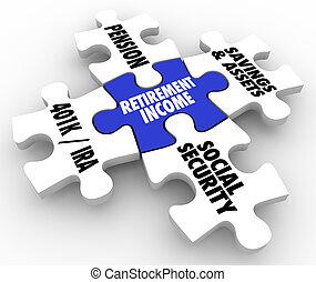avgång, inkomst, puzzlen lappar, pension, ira, 401k, social...