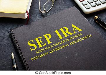 avgång, sep, arrangement., individ, förenklat, pension,...