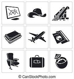 avião, ícone, jogo