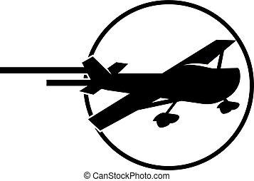 avião, ícone, logotipo, desenho, modelo, vetorial