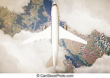 avião, acima, paisagem