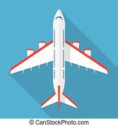 avião, acima, vista