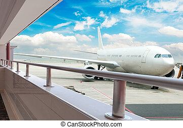 avião, aeroporto, carregando