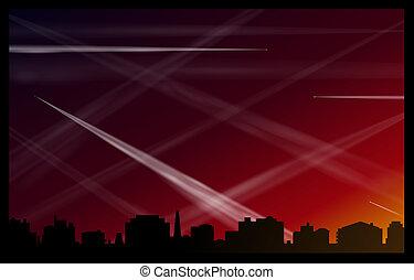 avião, afterglow, contrails