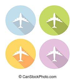 avião, apartamento, ícones, jogo