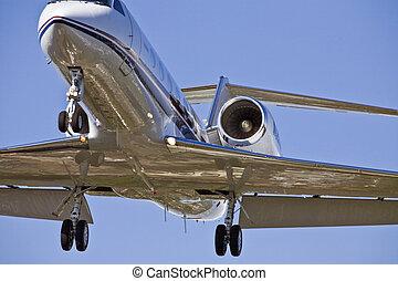 avião, aproximação, aterragem