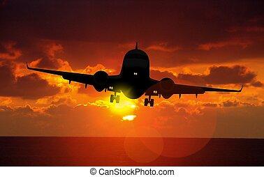 avião aterrissa