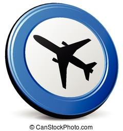 avião, azul, ícone