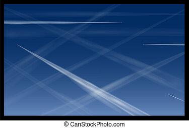avião azul, céu, contrails
