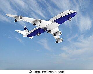 avião azul, céu