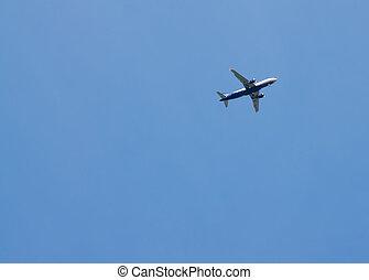 avião azul, céu, fundo