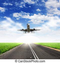 avião azul, céu, nublado