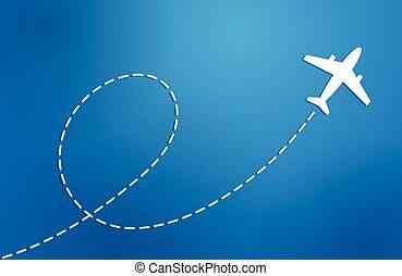 avião azul, fundo