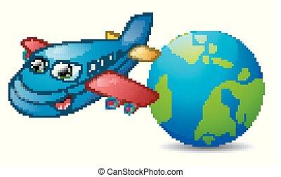 avião azul, personagem, caricatura