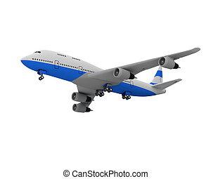 avião, branca, isolado