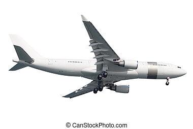 avião, branca, sobre, fundo, isolado