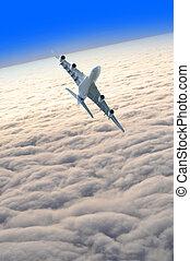 avião, céu, acima