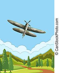 avião, céu, exército