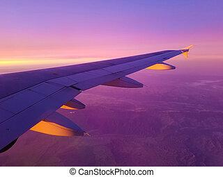 avião, califórnia, manhã