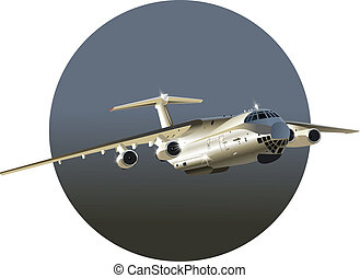 avião carga, vetorial, arte, jato