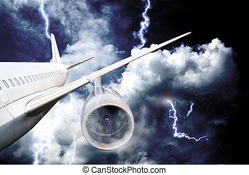 avião, choque, em, um, tempestade, com, relampago