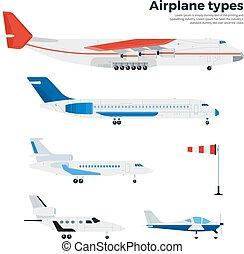 avião, cinco, branca, isolado