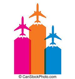 avião, coloridos, ícones