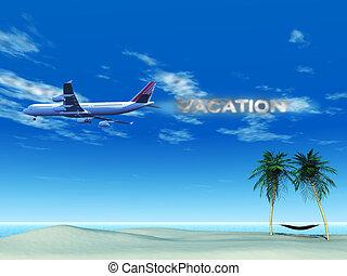 avião, com, fumaça, soletrando, a, palavra